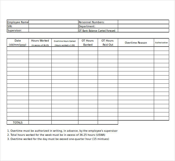 14  overtime worksheet templates