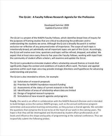 faculty research sample agenda