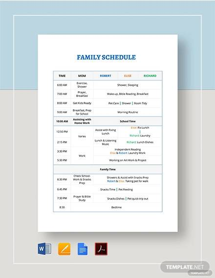 family schedule template1