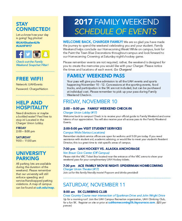 family weekend schedule for events