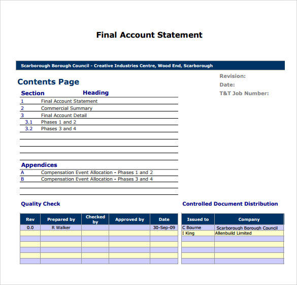final account statement template