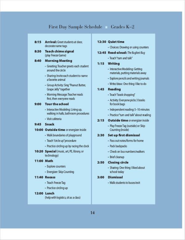 first day sample teacher schedule