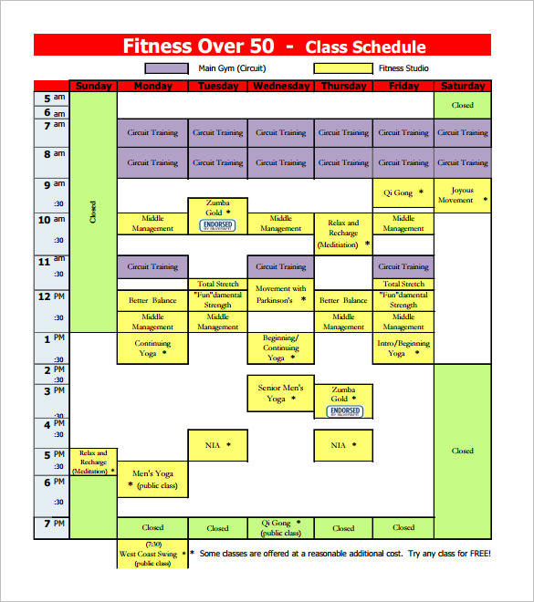fitness group schedule template