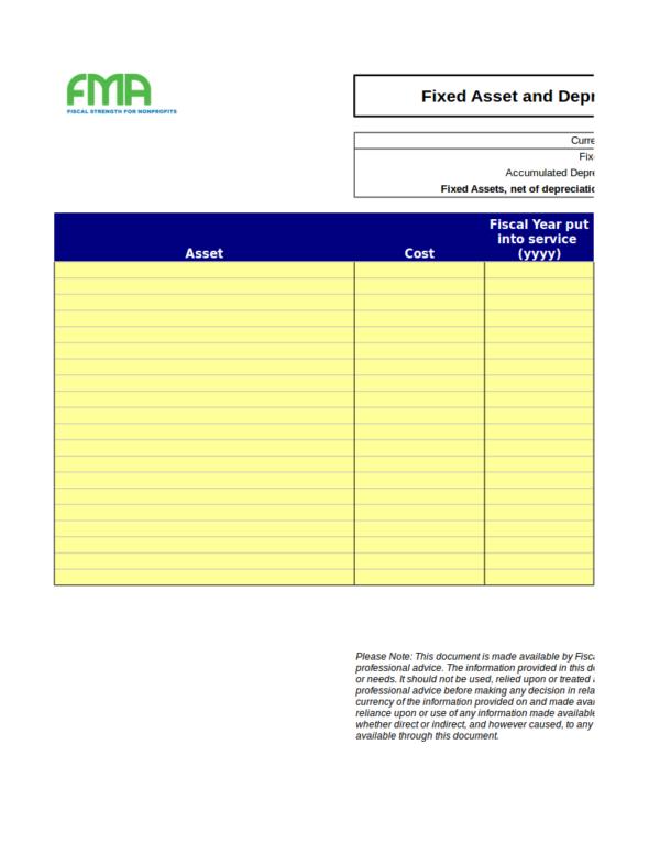 asset schedule template - 10 depreciation schedule samples templates pdf word