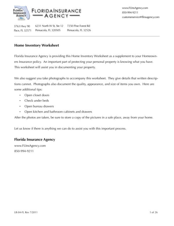 florida insurance agency home inventory worksheet 01