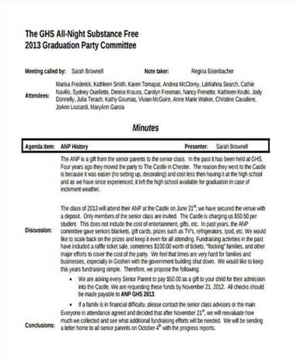 free graduation party agenda