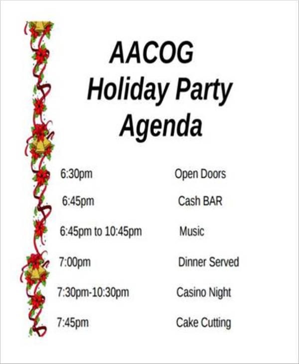 free holiday party agenda