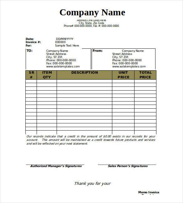free memo invoice template