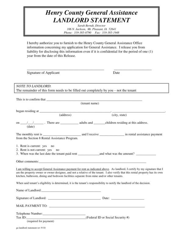 general assistance landlord statement template 1