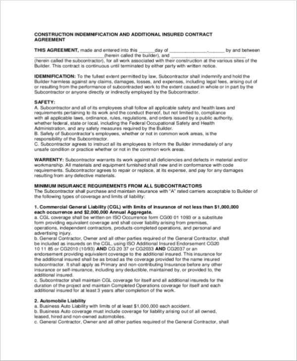 15 Indemnity Agreement Samples And Templates Pdf Sample Templates