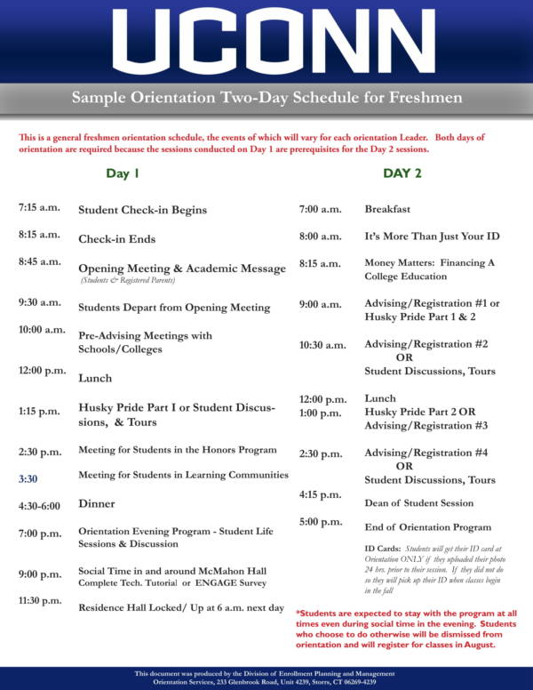 general freshmen orientation schedule sample 1