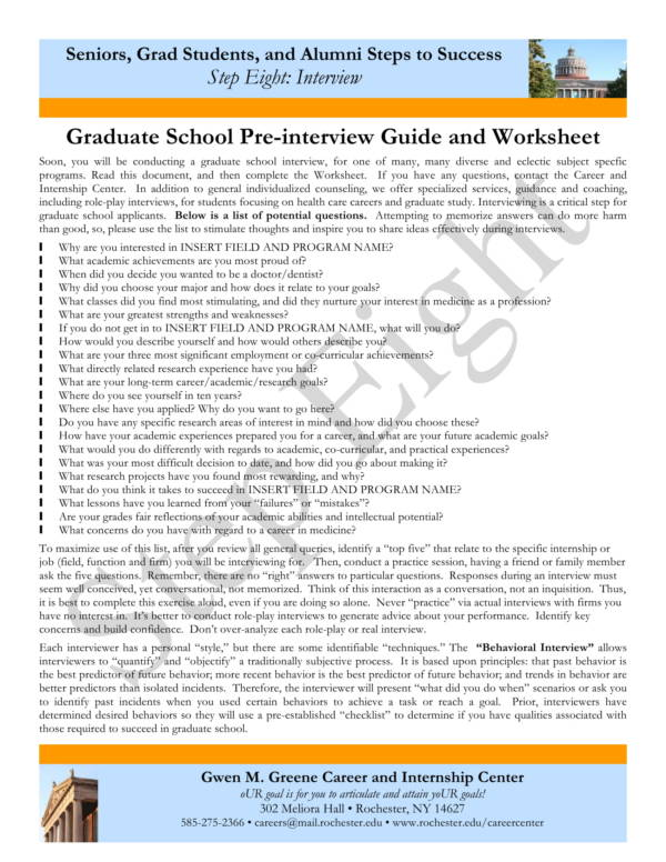 graduate school pre interview guide and worksheet 1