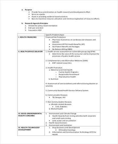 health research agenda example