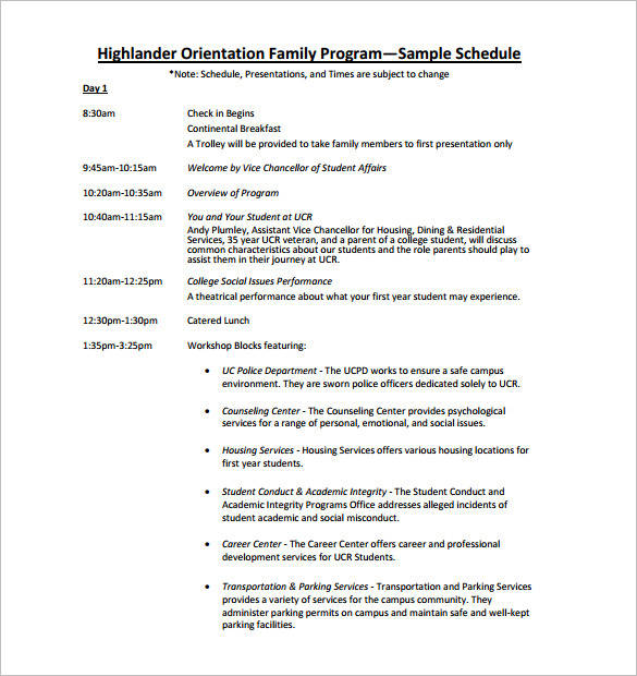 10 Orientation Schedule Samples Amp Templates Pdf Word
