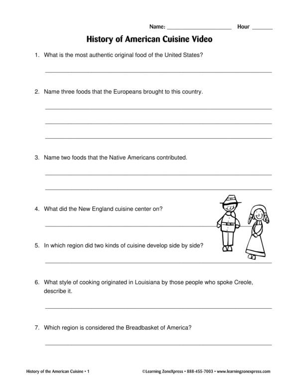 history of american cuisine worksheet 2