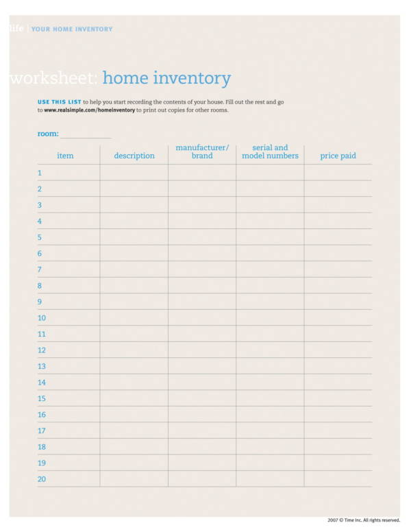 home inventory worksheet template 1