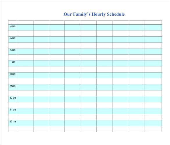 hourly family worksheet template