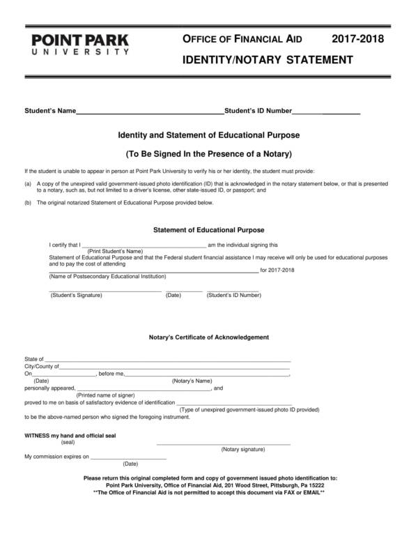 identity notary statement template 1