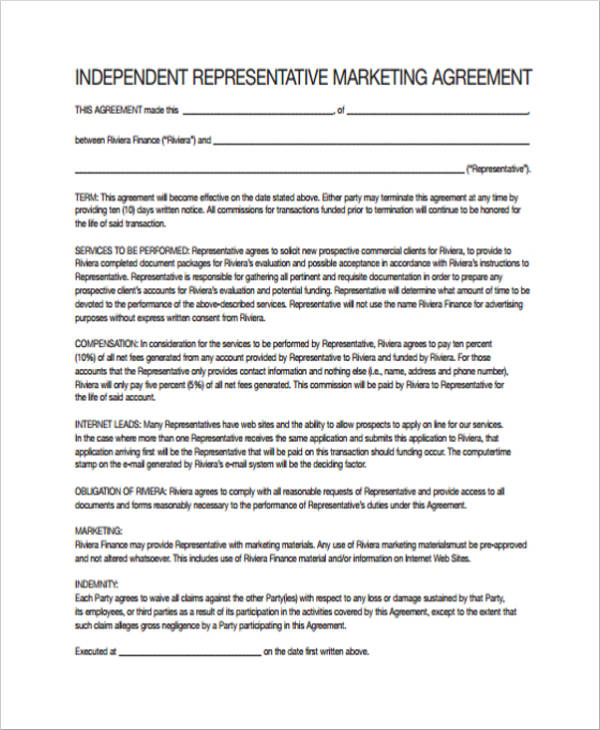 independent representative marketing agreement