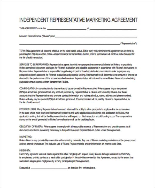 independent representative marketing agreement
