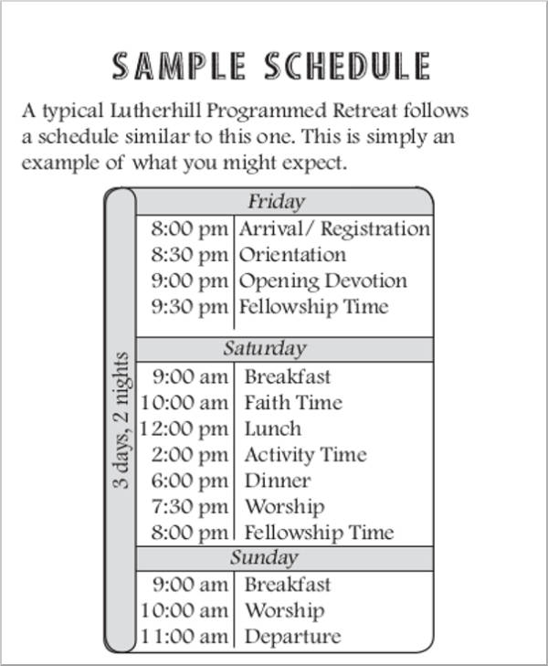 individual retreat sample schedule1