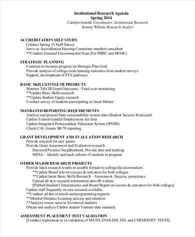 institutional research agenda