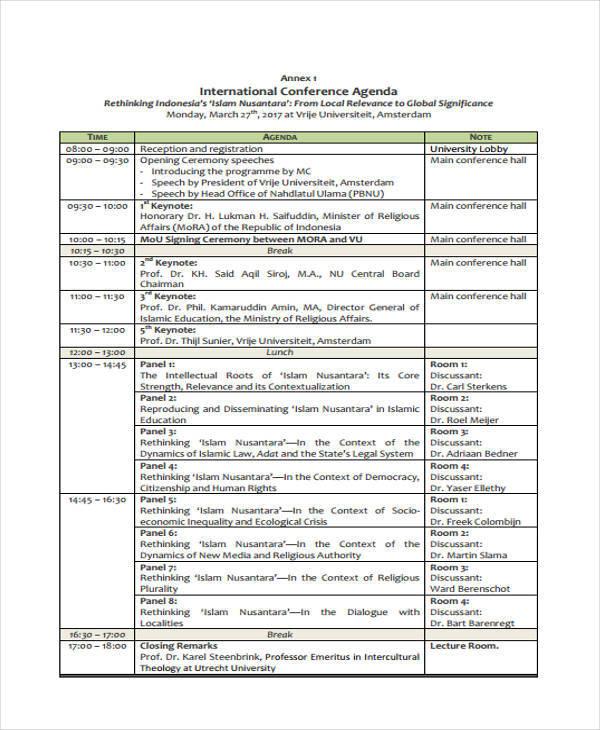 international conference agenda