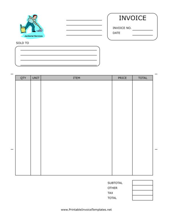 janitorial services invoice template 1