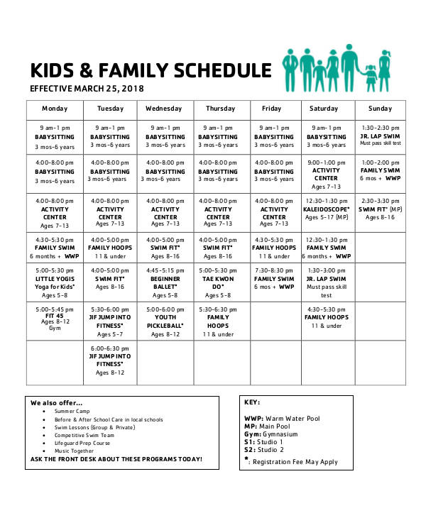 kids family schedule