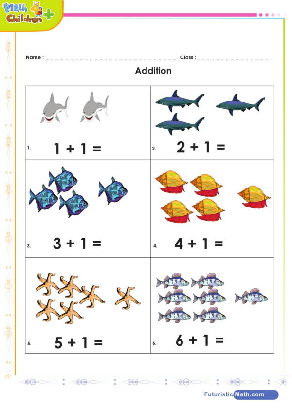 kindergarten addition worksheet 1