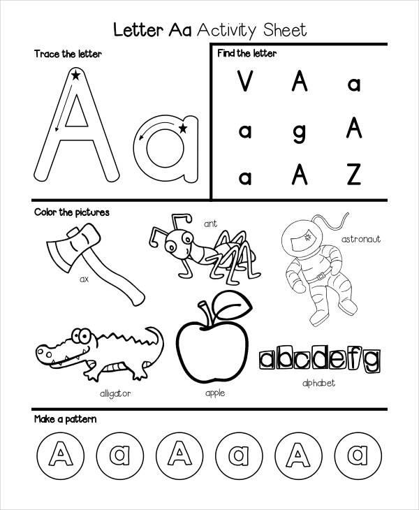 kindergarten alphabet worksheet