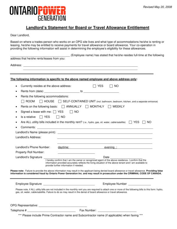 landlord's statement for board or travel allowance entitlement 1
