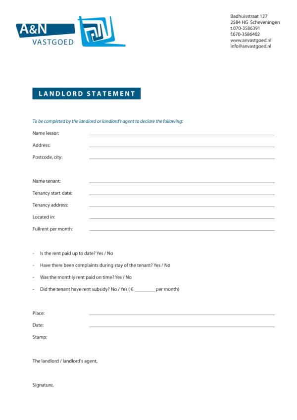 landlord statement template 1