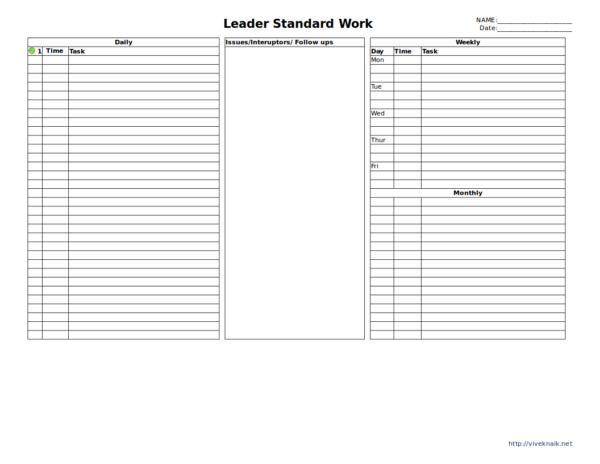 leader standard worksheet template