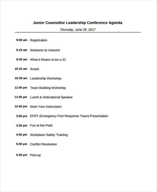 leadership conference agenda