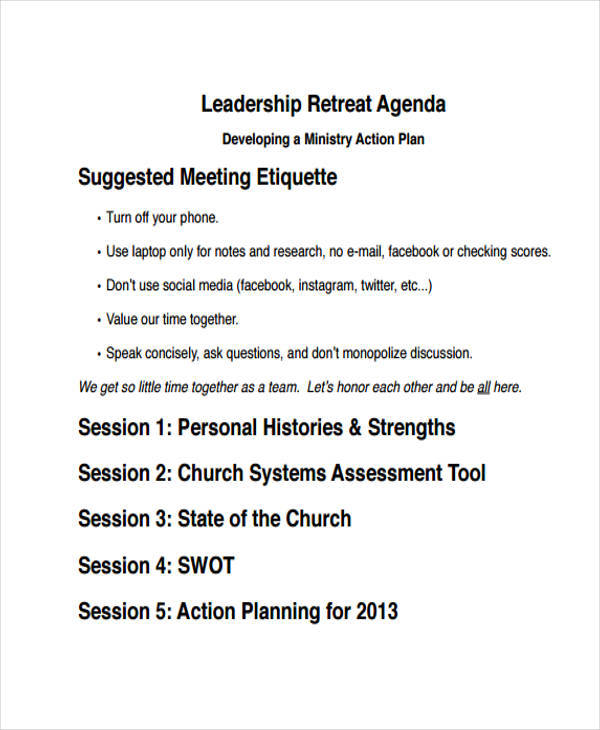10 retreat agenda templates pdf word