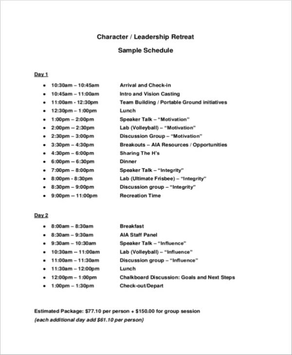 leadership retreat sample schedule