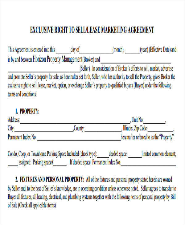 lease marketing agreement example