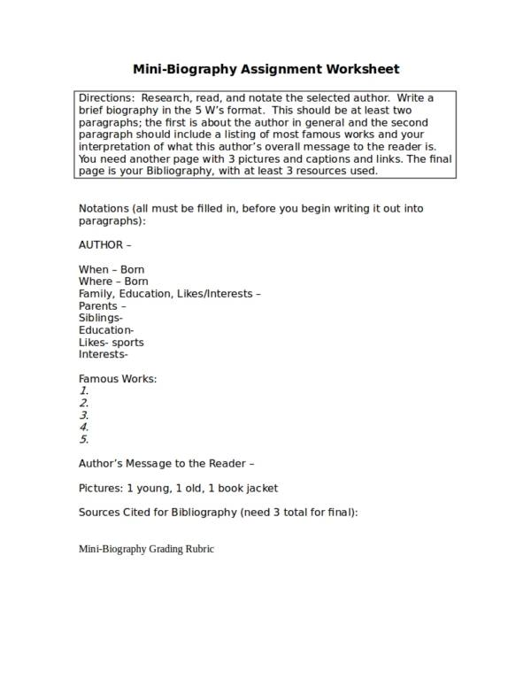 mini biography assignment worksheet
