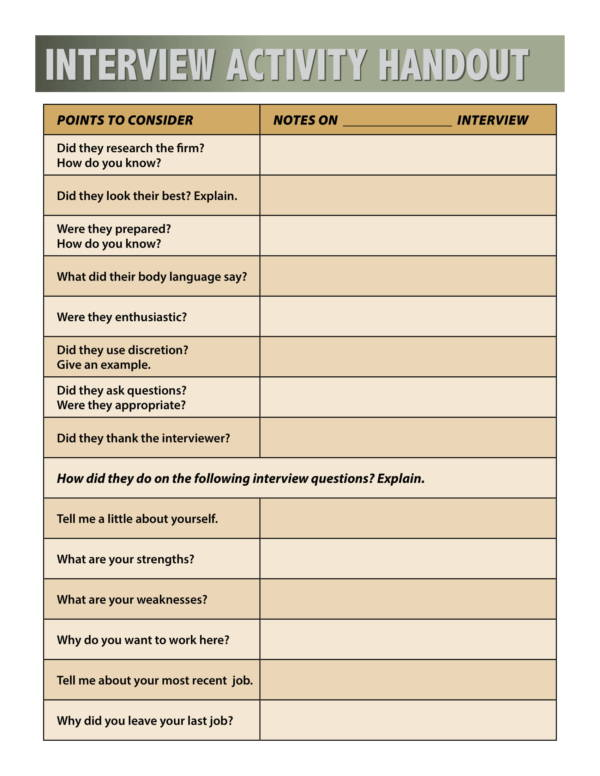 mock interview activity worksheet 2