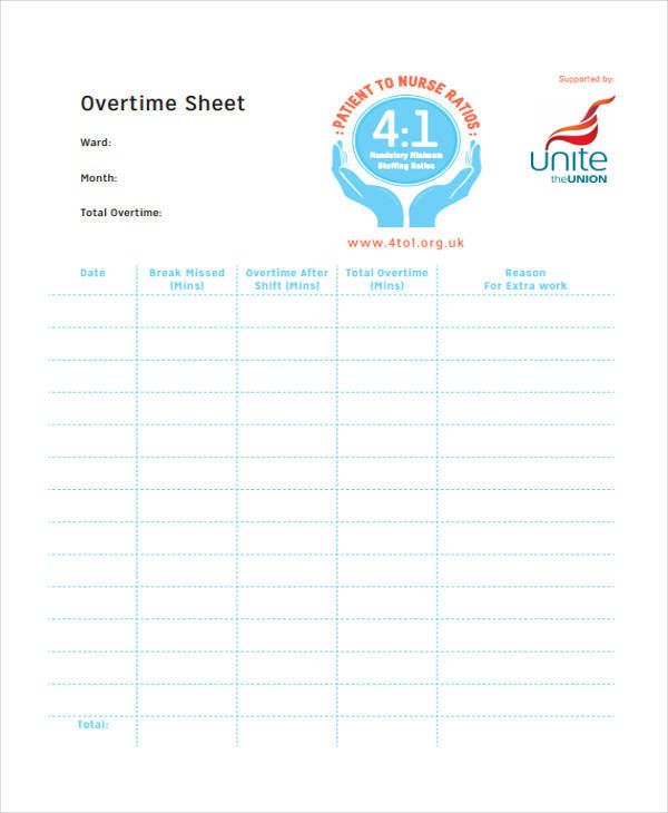 monthly overtime worksheet template