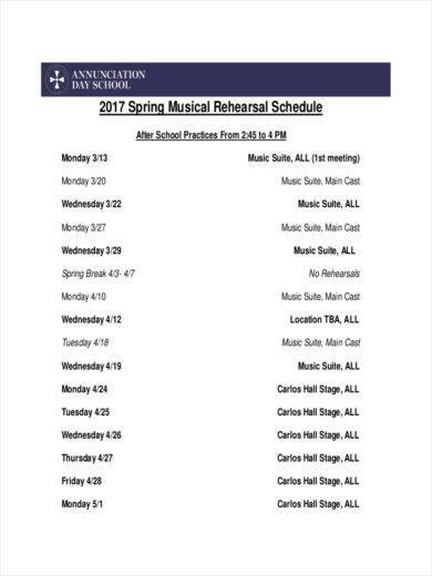 free 11  rehearsal schedule samples  u0026 templates in pdf