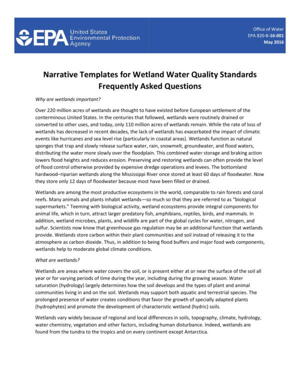 narrative templates for wetland water quality standards 1