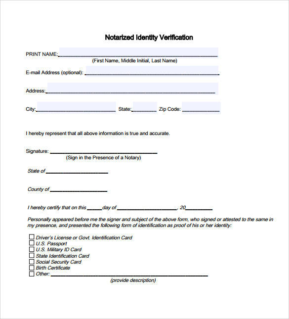 notarized identity verifcation template
