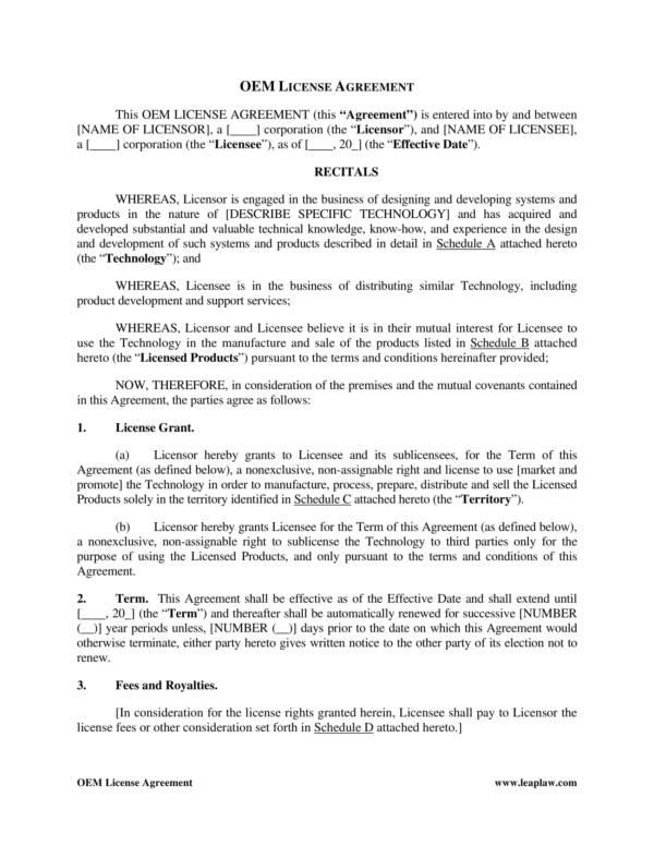 13 oem distribution and license agreement samples templates pdf oem license agreement in favor of licensor platinumwayz