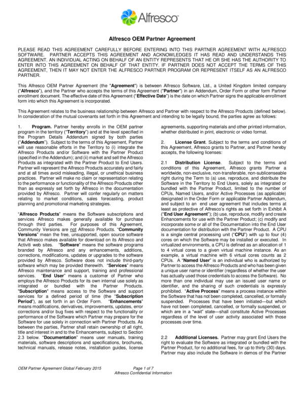 13 oem distribution and license agreement samples templates pdf oem partner agreement web version sample platinumwayz
