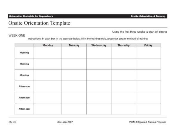 onsite orientation and training schedule template 1