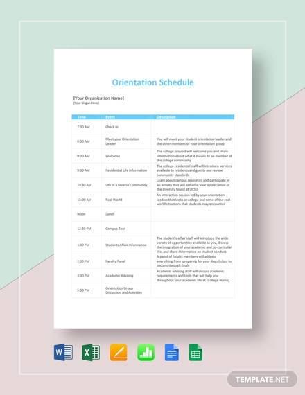 orientation schedule template