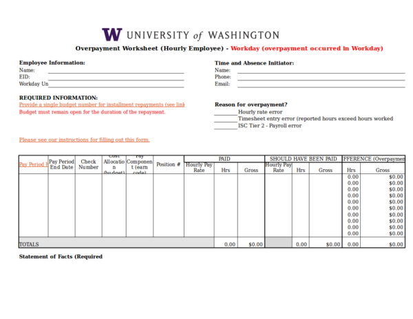 overpayment worksheet for hourly employees