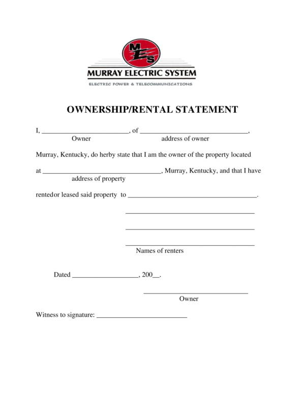 ownership rental billing statement template 1